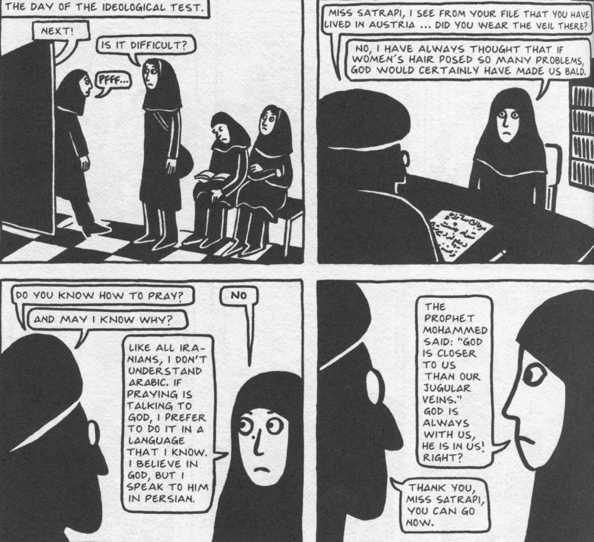 the veil marjane satrapi essay Persepolis is a black-and white graphic novel that its creator, marjane satrapi, has now adapted into a 2-d, black-and-white, hand-drawn animated movie make no mistake about it, though.